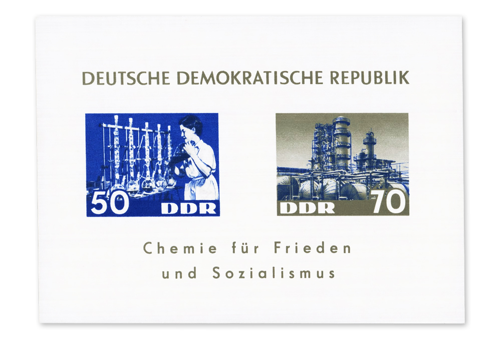 East Germany 1963 Chemistry for peace and Socialiscm dendron MS.jpg
