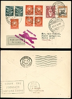 Vatican City First and Pioneer Flights July 29, 1935, Rome-Paris, mixed franking