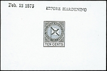 1875, House flag 10 cents Die Proof on glazed card with handstruck