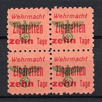 'Ten Days' Wehrmacht Cigarettes Stamps, Germany (Block of Four, MNH)