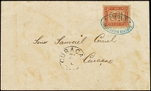 1869, Jesurun Issue 2 real red, perforated 12½, tied by double oval agent
