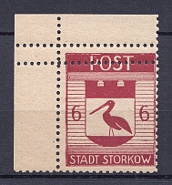 1946 Storkow Germany Local Post 6 Pf (Shifted Perforation, Print Error, MNH)