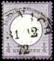 1 / 4 Gr. Violet, deep colored stamp with centered single circle postmark