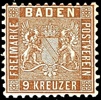 9 kreuzer bright red brown, having bright colors extremely fine copy, mint