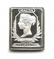 1860-61 Malta 0.5 P (Sterling Silver Miniature, Greatest Stamps of The World)