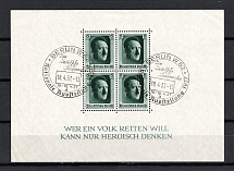 1937 Third Reich, Germany (Souvenir Sheet Mi. 7, Special Commemorative Cancellation BERLIN W 62, CV $20)