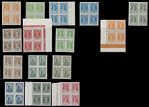 1927-29, 2nd definitive issue, 1k-80k, complete set of 15, blocks of four, five
