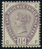 GB - Victoria 1883 1½d lilac sg188 colour trial in issued colour no wmk perf 14