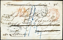 1850, letter sheet from Havana by forwarded agent