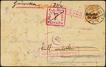 "1917, postal stationery card 7 ½ pfg. used from ""BIALYSTOK 15.6."" with censor"
