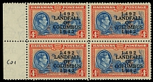 Bahamas, 1942, 450th Anniv of the Landing of Columbus in America, ovpt on 4p