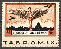 1921 Poland Airmail (Missed Perf, Advertising Label in Stamp, Beautiful Error)