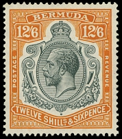 Bermuda, 1932, King George V, 12s6p gray and orange, wtmk Multiple Script CA
