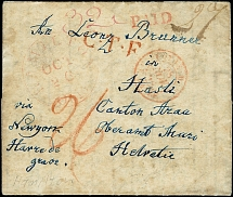 "1844, entire letter from ""HAMILTON OCT.26."" with straight line ""PAID"" and"