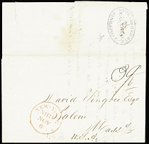 1837 Folded entire dated internally December 14, 1837 and addressed to Salem/Mas