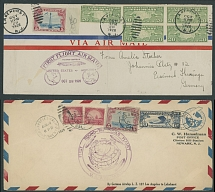BALANCE OF ZEPPELIN FLIGHT ITEMS: 1928-36, 13 covers or cards, representing three Flights - America Flight of 1928, Round the World Flight of 1929, representing complete Lakehurst - Lakehurst and various parts of that flight