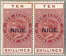 1941-67, 2 s. 6 d., deep brown, pair, MH, wmk NZ and star, perf. 14, black NIUE.