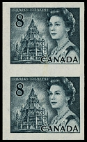 Canada, 1971, Queen Elizabeth II and Library of Parliament, 8c, vert imperf pair