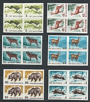 Bulgaria 1958 Forest Animals set, IMPERF., as sg1091/6, in blocks of 4, UM