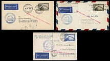 Germany-Zeppelin Flights May 16-17, 1929, 1st SAF, two covers and one postcard