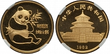 PRC 1982, Panda, the first issue, MS quality gold medal of ¼ oz (0.999 gold)