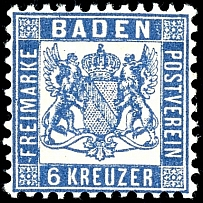 6 kreuzer ultramarine, mint never hinged extremely fine copy, expertized