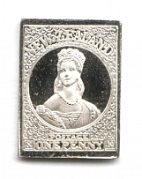 1855 New Zealand 1 P (Sterling Silver Miniature, Greatest Stamps of The World)