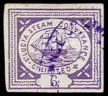 1872, First printing, Steamer 6 pence lilac (transfer type 3), fresh colour and