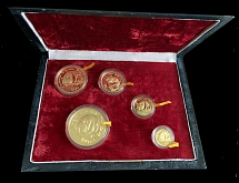 PRC 1987(P), Panda, 5y-100y, set of 5 proof gold coins, AGW 1.95oz
