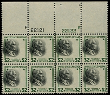 United States, 1938, Presidential issue, Harding, $2 green and black, blk of 8