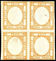 1861, 10 large orange, block of four, unused, at the bottom on the margin line