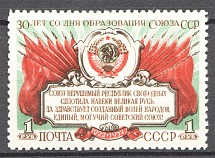 1952 USSR 30th Anniversary of the USSR (Print Error, Shifted Red, Full Set, MNH)