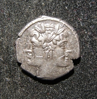 Roman Republic ancient AR Didrachm/Quadrigatus coin, Crawford 28/3, GVF