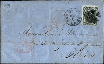 "1867, Lincoln 15 c. black tied by cork cancel to entire letter from ""NEW"