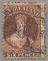 1864, 6 d., red brown, perf 12 1/2, wmk NZ, used, very rich shade and fresh, F-V