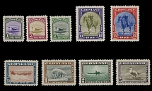 Greenland, 1945, Christian X, Animals and Birds, 1o-5k. complete set of nine