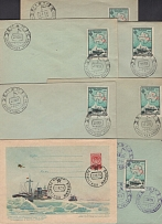 1958. 7 envelopes with doublet postmarks of the Soviet Antarctic stations. Mirny (rare large format stamp),