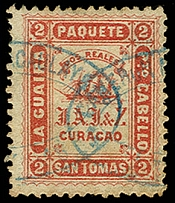 1869, Jesurun Issue 2 real red, perforated 12½, used with double oval agent