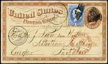 1874, Washington 1 c. blue on postal stationery card 1 c. from