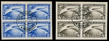 Germany 1930, Zeppelin Flight to South America, 2m and 4m, used blocks of 4