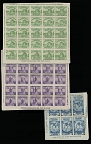 1933-34, American Philatelic Society and National Stamp Exhibition issues, 1c green and 3c purple, souvenir sheets of 25, 3c dark blue, souvenir sheet of six