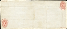 1880, Essay Return Envelope 3 c. red on white, size 160 x 90 mm and second