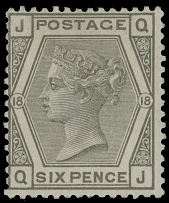 1882, Queen Victoria, 6p gray, plate 18, watermark Imperial Crown, fresh color