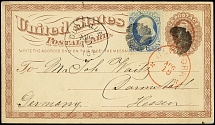 "1874, Washington 1 c. blue on postal stationery card 1 c. from ""DUBUQUE IOA"