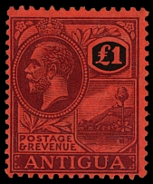 Antigua, 1922, King George V, £1 violet and black, wtmk Multiple Crown CA