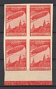 1931 USSR 20 Kop Airship Constructing Sc. C 17, Zv. 271 MARGINAL Block of Four (Imperforated, CV $400, MNH)