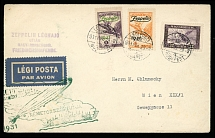 Hungary March 29-30, 1931, Hungarian Zeppelin Flight cover, cplt set franking