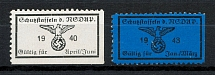 1940-43 Schutzstaffel Quartely Membership Countribution Stamps