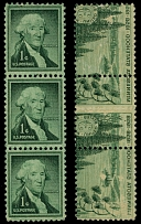 United States, 1956, Washington, 1c dark green, strip of three with full offset