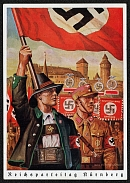 1938 Reich party rally of the NSDAP in Nuremberg. Austrian NS Member and Flag with SA Man and Standards RARE card